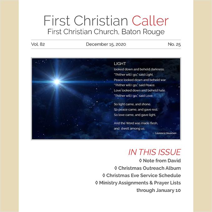 First Christian Caller, Dec. 15, 2020